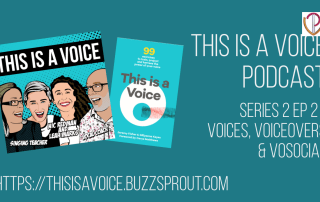 This is a voice podcast banner with Leah Marks & Nic Redman from VoiceoverSocial