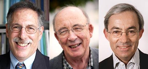 I tre vincitori del Nobel per l'economia 2010 Diamonds, Mortensen e Pissarides