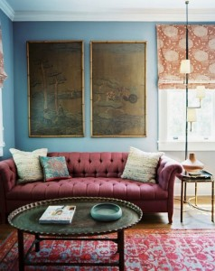 powderunique-interior-living-room-color-idea-blue-walls-decor-berry-tone-tufted-sofa-classic-rug-style-floor-lamp-bamboo-side-table-three-cushions-round-coffee-table-vinyl-wood-floor