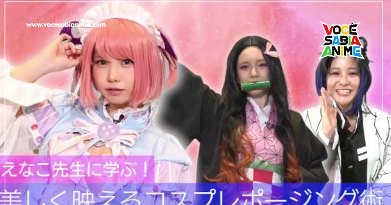 Enako ajuda Apresentadora Ayaka Hironaka a fazer Cosplay de Nezuko