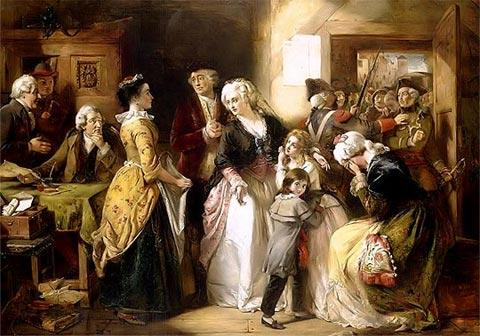 Arresto de María Antonieta, Luis XVI y la familia real. Óleo de Thomas Falcon Marshall. Especial