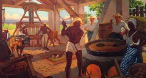 Pieza de Miguel Pou titulada Haciendo ron óleo sobre tela.