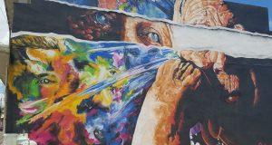 Yaucromatic llenó de murales el casco urbano de Yauco. En la foto, mural por Doel Santana, conocido como SKO SF.