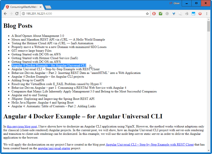 Angular REST API Example - User View