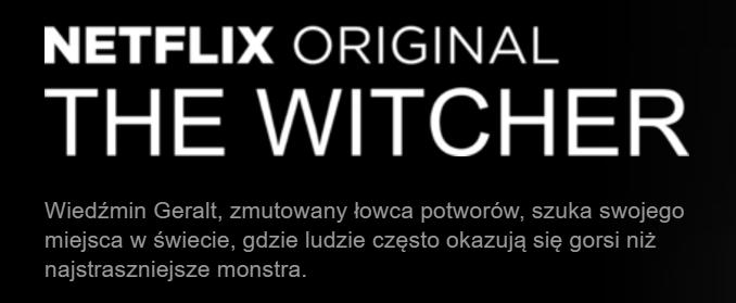 """Nowy opis serialu """"Wiedźmin"""" na platformie Netflix"""