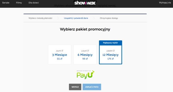 Plan długoterminowych subskrypcji w serwisie Showmax