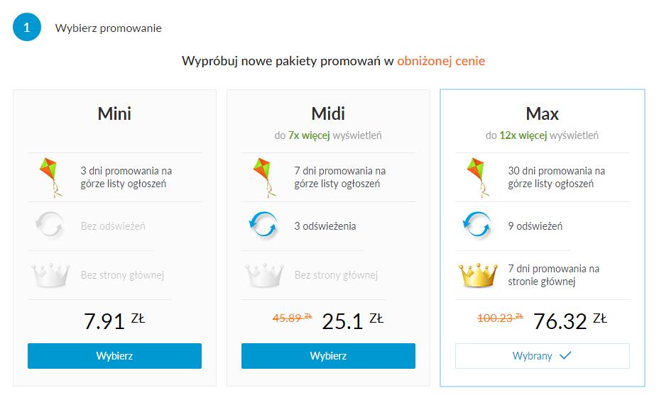 Możliwy koszt pakietu MAXI w serwisie OLX