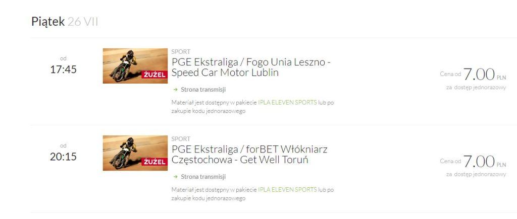 Dostęp do pojedynczych transmisji Formuły 1 i Żużla udostępnia IPLA