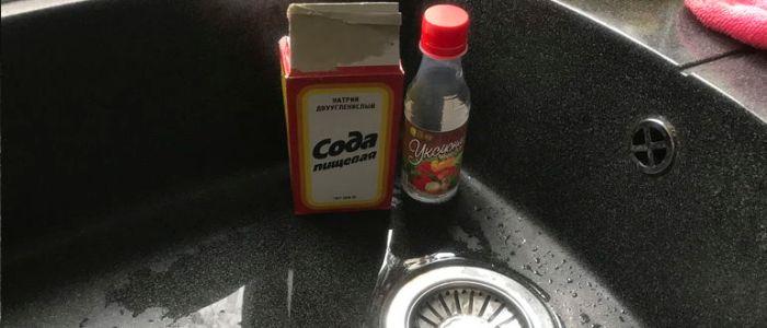 Прочистка раковины содой и уксусом - Водовед
