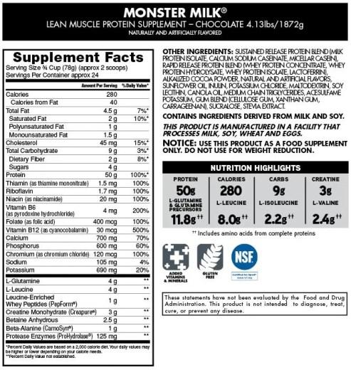 monster milk samenstelling