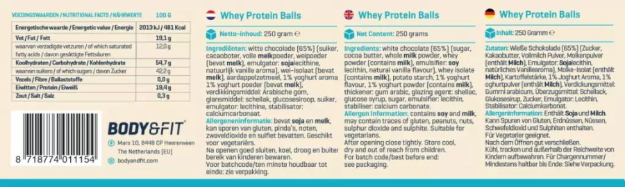 Whey Protein Balls label