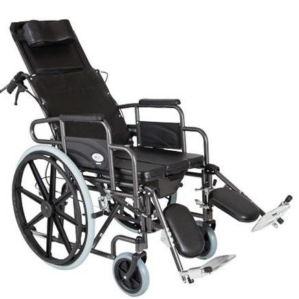 Инвалидна тоалетна количка легло код 0806062 с тоалетна, 2 в 1 и стъпенки с опора на подбедриците