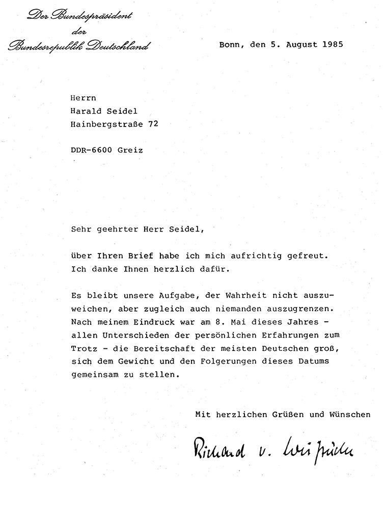 Antwort von Richard von Weizsäcker