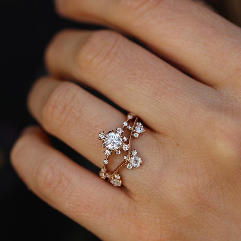 Kataoka Curved Diamond Crown 18k Rose Gold Ring At