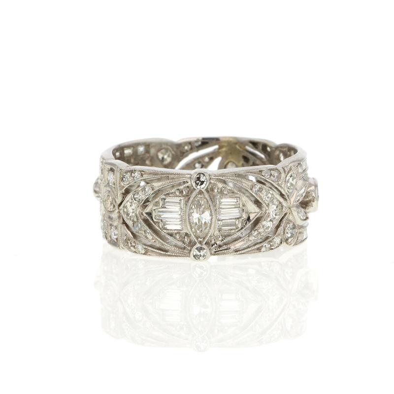 Vintage Unique Platinum Diamond Wide Band At Voiage Jewelry