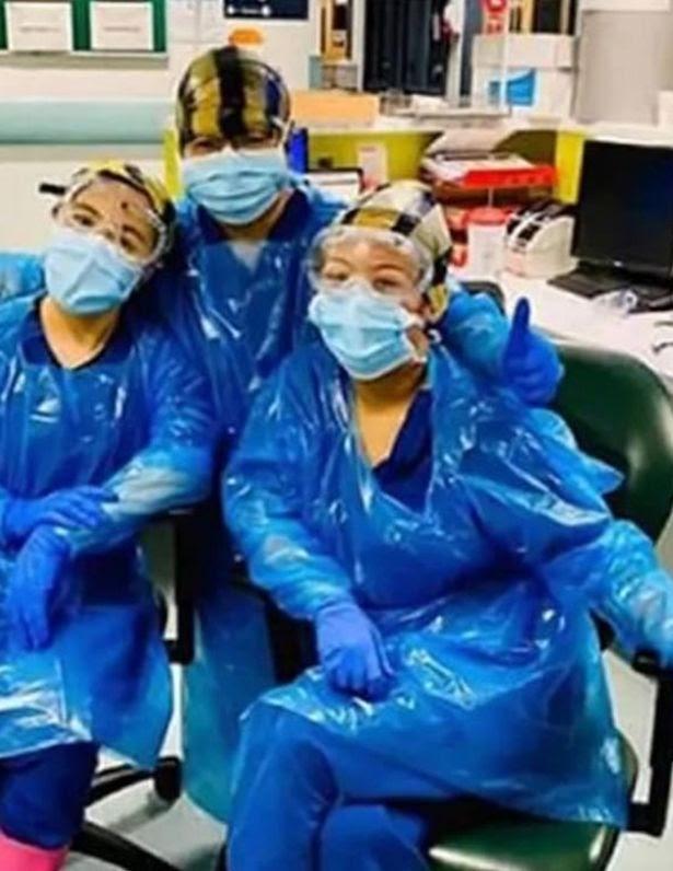 Three NHS Nurses wearing sub-standard PPE.