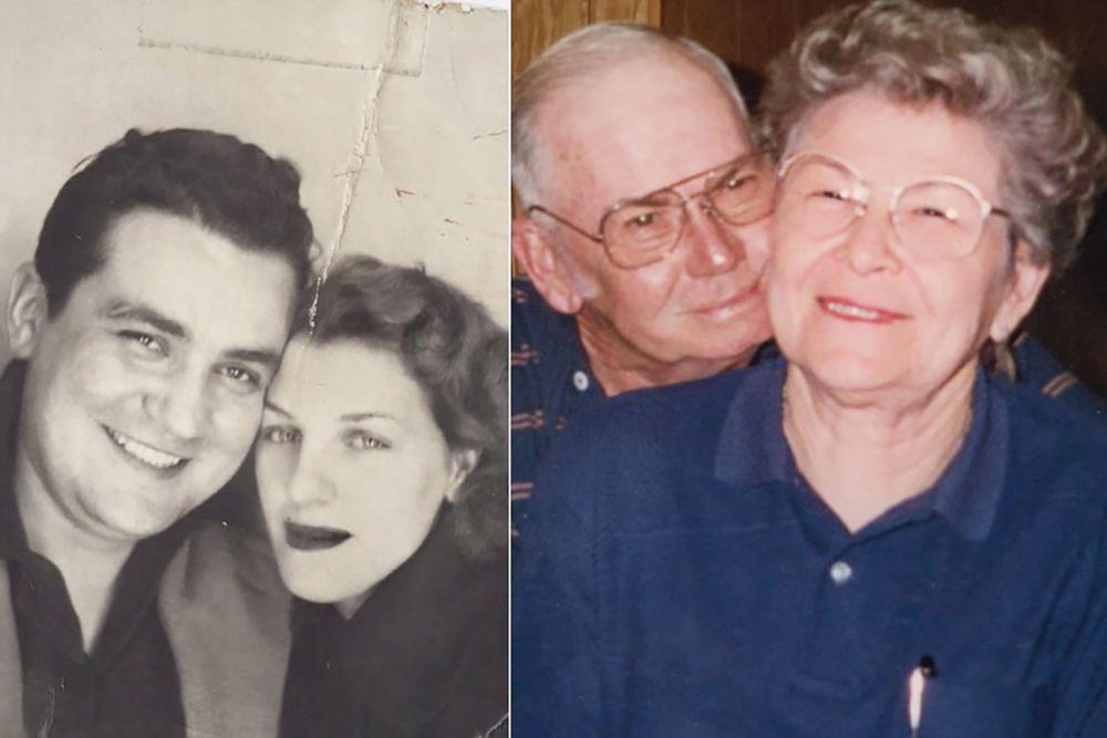 Ein altes und ein neues Foto eines Paares. Eines zeigt es in ihren 20er und das andere in den 80er.