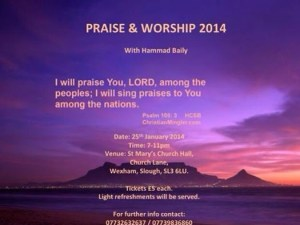 Praise worship evening Slough Jan 2014