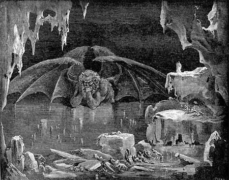 Dante's Inferno: Satan in 9th Circle of Hell - Gustave Dore