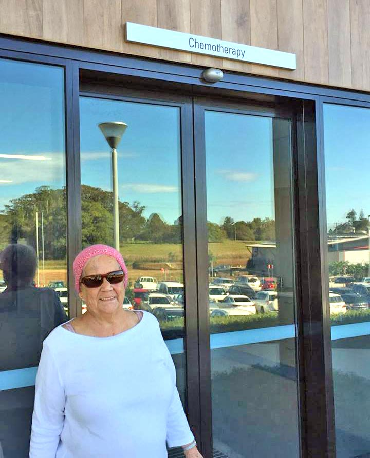 Ann Kerrigan, one of the first patients receiving oncology treatment at the new Byron Central Hospital. Deb Challis photo.