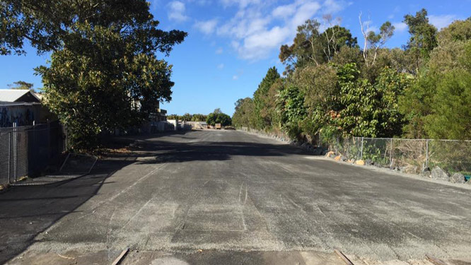 Section of the railway track paved over for work on the Mercato on Byron project. Photo: Michael van Kempen.