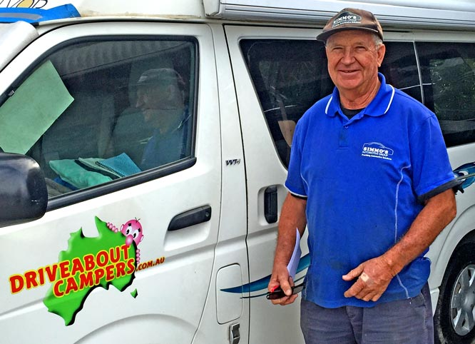 Warrren Simmons with one of his Driveabout Campers campervans for hire.
