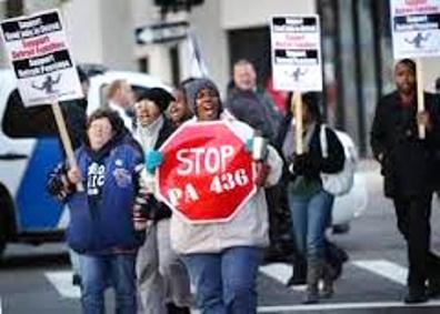 Bankruptcy protester targets EM law PA 436.