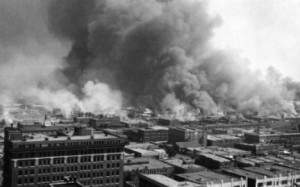 """Greenwood, also known as """"Little Africa,"""" in Tulsa Oklahoma burns in 1921."""