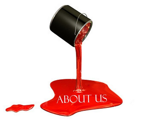 Can of paint pouring red onto the floor and the words, About us, appear in the paint.