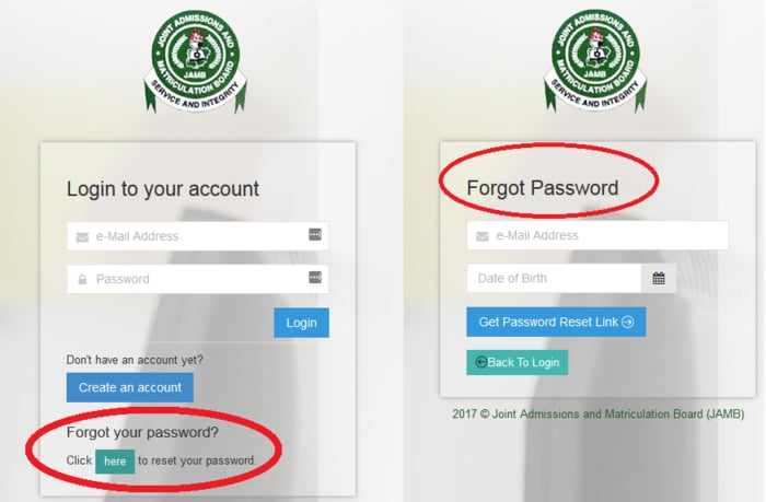jamb Login forgot password
