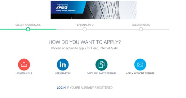 kpmg recruitment portal