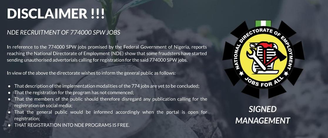 NDE Recruitment Disclaimer