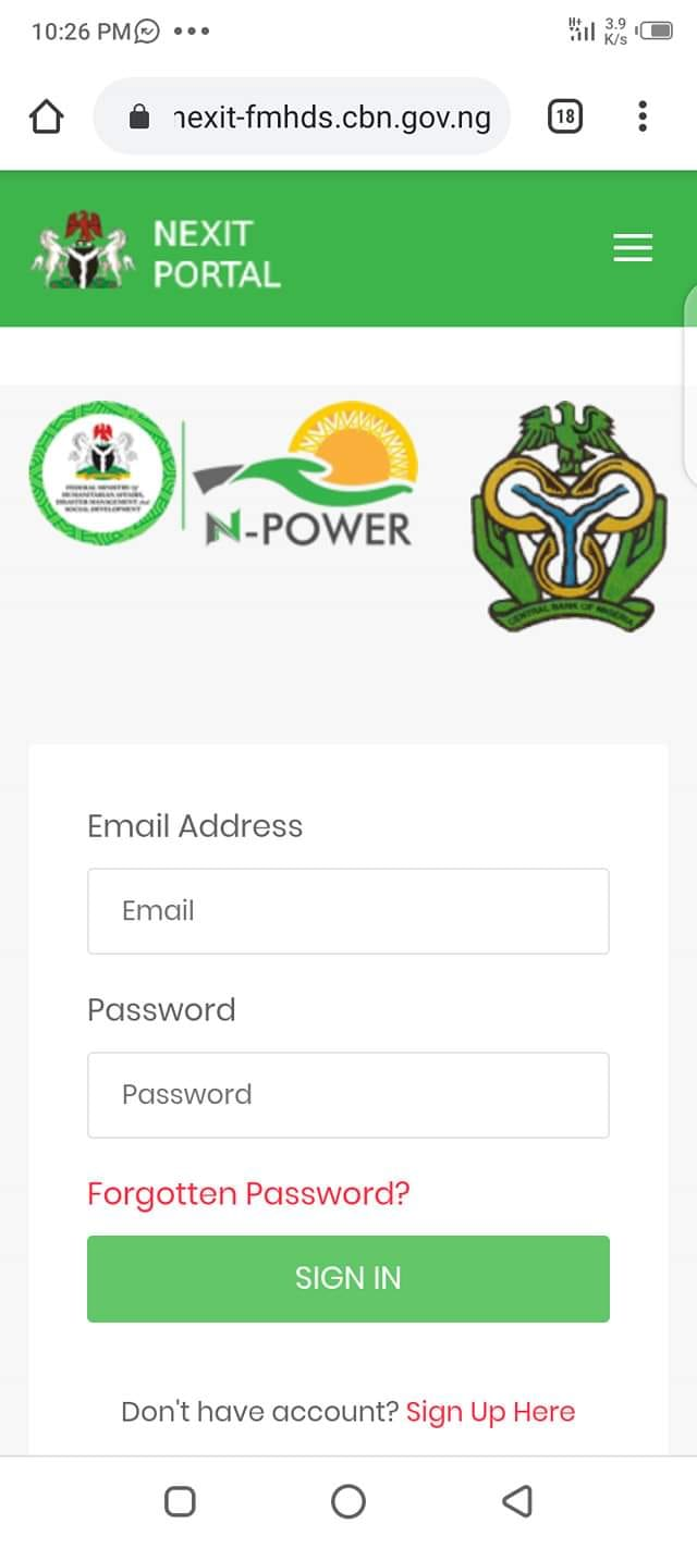 nexit-fmhds.cbn.gov.ng portal registration