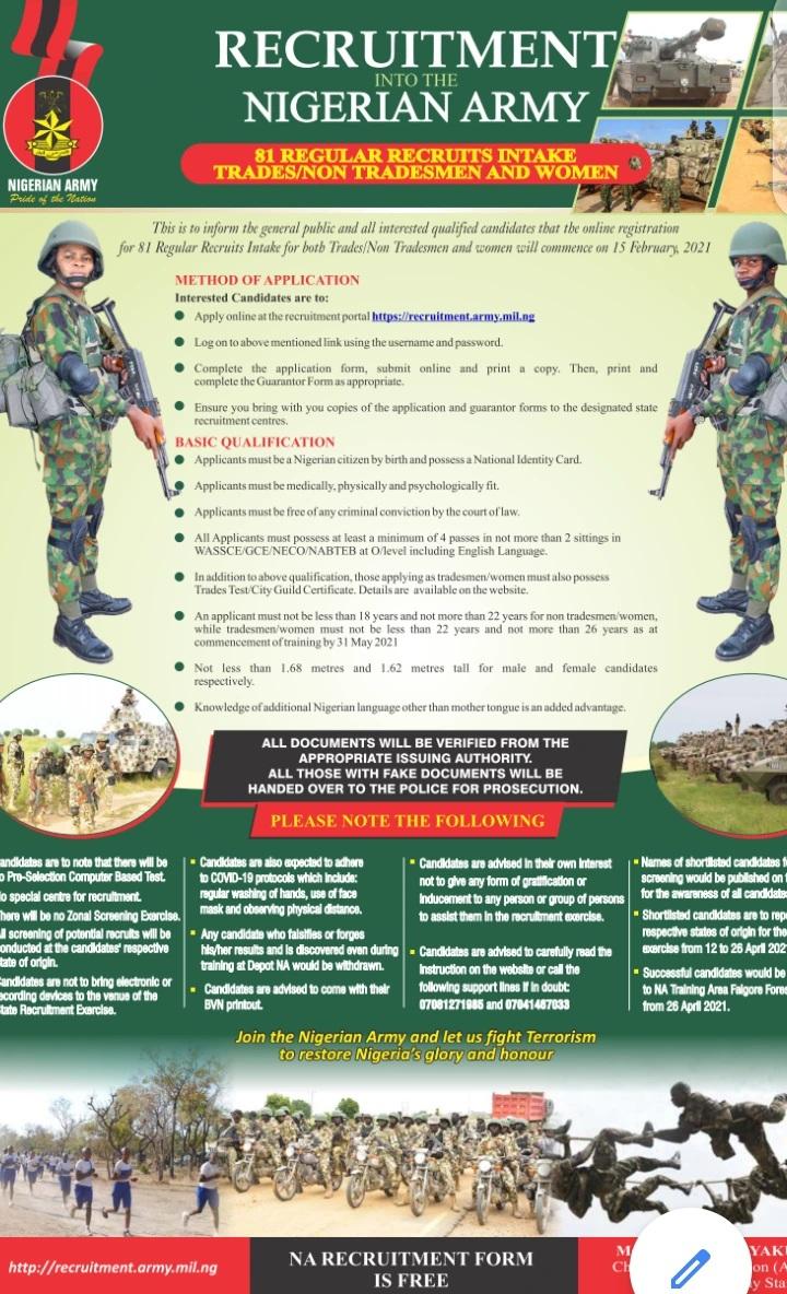 nigeria army 81rri recruitment portal