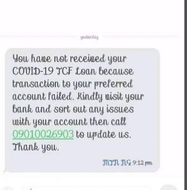 covid 19 tcf message