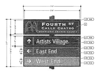A mock-up of one of the wayfinding signs for Fourth Street included in a city staff report.
