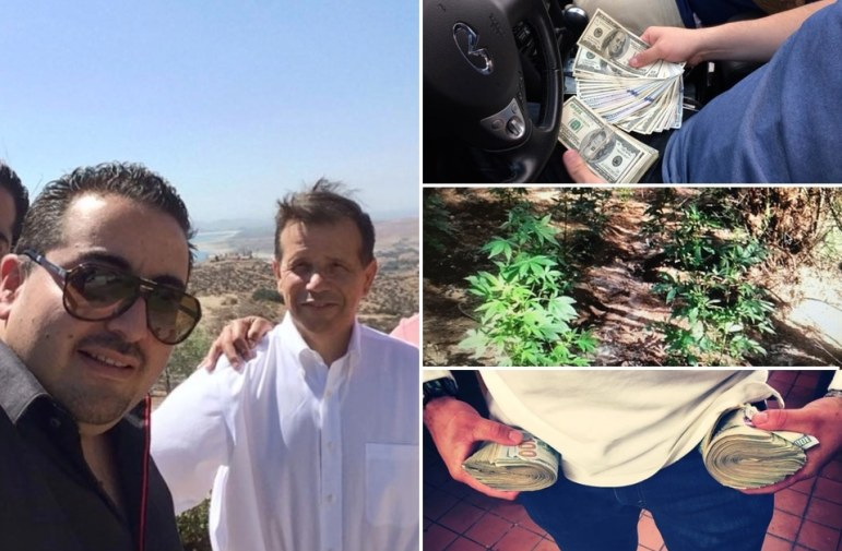 Santa Ana Mayor Miguel Pulido (left with white shirt) and Diego Olivares, a convicted cocaine trafficker. The images are from Olivares' Facebook page.