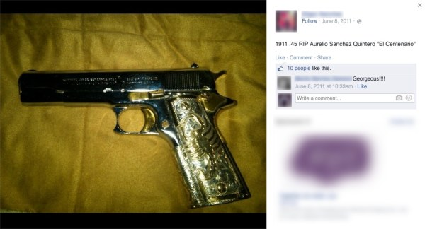 A picture of a gold-plated gun posted on the Facebook page belonging to a friend of Diego Olivares.