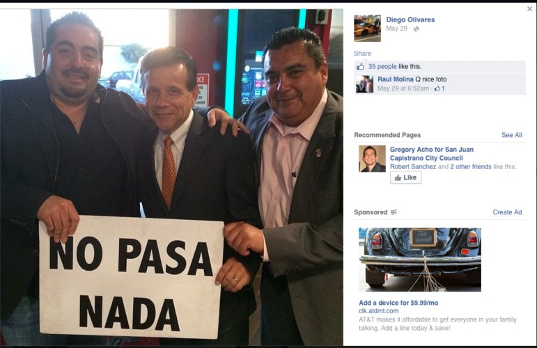 Diego Olivares (left), Miguel Pulido (center) and other man in a picture posted on Olivares' Facebook page.