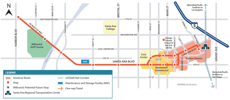 A graphic of the streetcar route. Courtesy of OCTA.