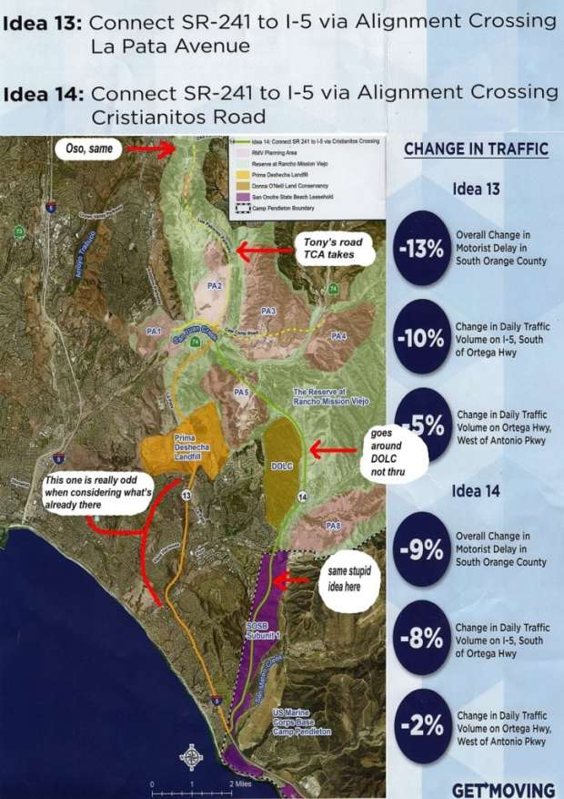 Transportation Corridor Agencies has two proposed routes, one, 13, would colonize the newly-built La Pata, then veer off into destroying hill after hill, cutting through newly built communities. Their other one, 14, is the same alignment rejected again and again in 2008, except that they avoid the Donna O'Neill Land Conservancy. The only hope for them is if the Coastal Commission agrees to approve a useless and destructive road that takes over a state park. Map defaced by Jerry Collamer