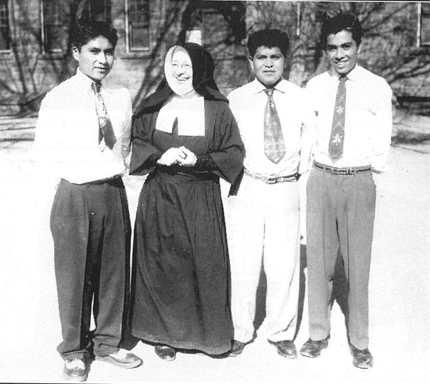Sister Cunegundis with some of her students.