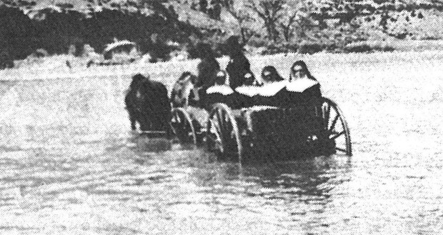 Sisters Dorothy, Pierre, and George Marie being taken to Archuleta, Colorado.