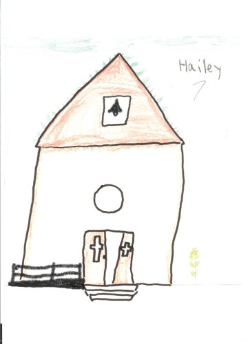 Picture by 7-year-old Haley Molina showing Our Lady of Sorrows Church with a new ramp.