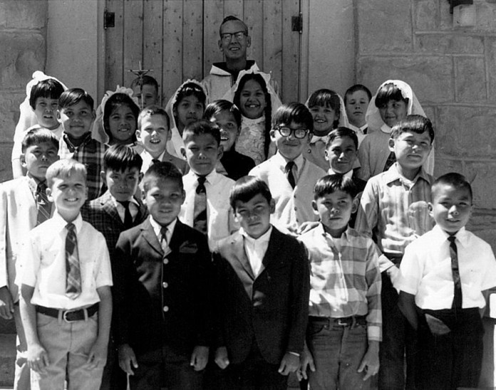 An early 1st Communion Class at Shiprock.