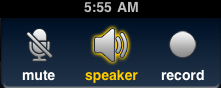 Bria4iPad.Call Screen.Mute-Speaker-Record