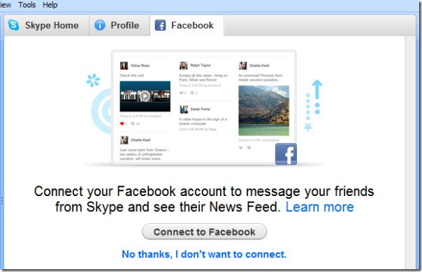 Skype for Windows 5.5 beta - Facebook Login