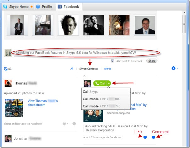 Skype for Windows 5.5 beta - Facebook wall