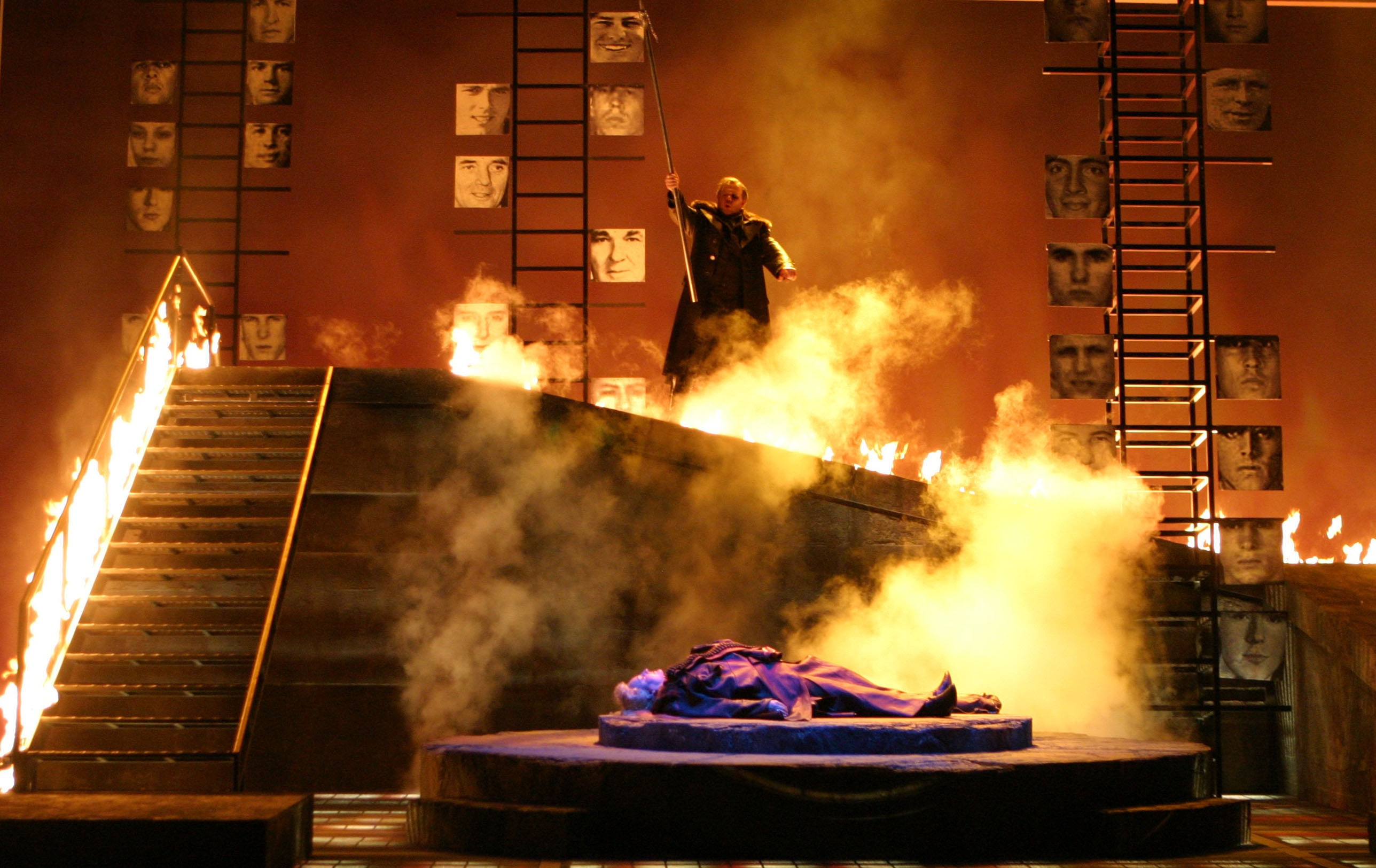 Wotan imprisoning Brunnhilde in fire in diewalkure