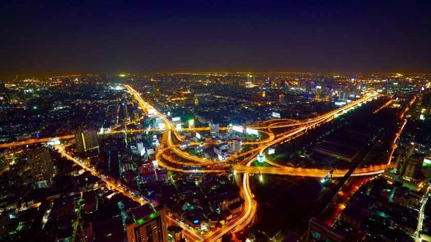 aerial buildings business city